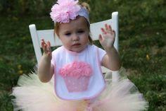 1st birthday bib shabby chic cupcake baby от KateGraceRose на Etsy