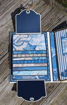 FotoBella: Graphic 45 Ocean Blue Waterfall Album by Laurie- Fotobella Design Team Mini Photo Albums, Mini Albums Scrap, Mini Scrapbook Albums, Scrapbook Cards, Photo Album Scrapbooking, Scrapbooking Layouts, Graphic 45, Waterfall Cards, Mini Books