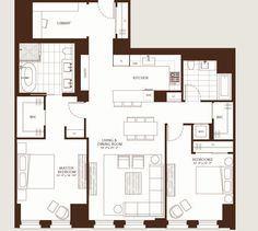 1,510-square-foot 2BR/2BA, floors 2 to 11