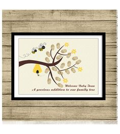 Bee Fingerprint tree PRINTABLE Thumbprint Tree Guest Book Poster, Nursery Wall Art,  Custom Text, Color and Language available op Etsy, 15,00€