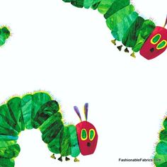 Fabric... The Very Hungry Caterpillar on white by Eric Carle