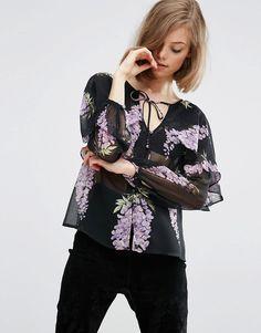 ASOS+Floral+Blouse+with+Cape+Detail+&+Tie
