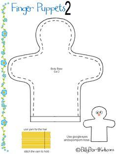 Free+Hand+Puppet+Patterns | Finger Puppet Patterns - Pattern 2 Kids - BillyBear4Kids.com