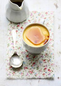 Maple Custards (milk, eggs, maple syrup, vanilla bean extract, salt)