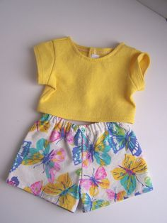 Multicolor Butterfly Boxer Shorts and Yellow Crop T Shirt - Fits 18 inch Girl Dolls by AuntSissyOriginals on Etsy