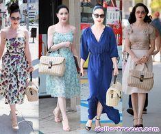 Dita Von Teese these days has always taken Dolce & Gabbana spring summer woven bag on the street.