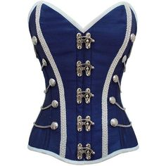 Blue Military Inspired Steel Boned Corset ❤ liked on Polyvore featuring corsets, tops, shirts and blue