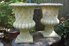 HUGE  PAIR  OF  FIBERGLASS  OLD  ITALIAN  STYLE  URNS / VASES  PLANTERS  NICE  DETAILS  AND EXCELLENT  CONDITIONS ,  SIZE  : 31 inches  HIGH  X  23 inches  DIAMETER .     FOR MORE  INFORMATION ,QUESTIONS OR REQUEST FOR PHOTOS PLEASE DO NOT HESITATE TO CALL ME 908.248.3934 . YOUR QUESTIONS WILL BE ANSWERED MON-SAT AFTERWORK 6 PM EASTER TIME OTHERWISE LEAVE ME A MESSAGE. THE  PRICE  CAN  BE  NEGOTIABLE! THANKS !! DANIEL  http://www.facebook.com/one.thoughtful.gift