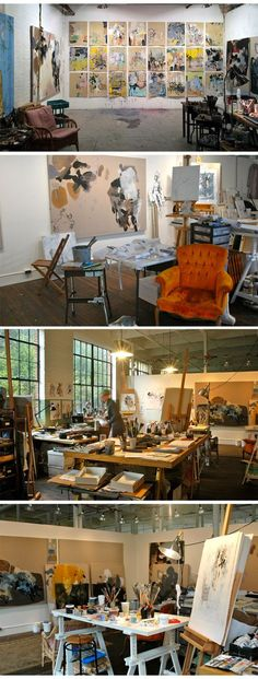 """Anna Schuleit's studio - """"The different parts of the studio help me to keep moving, like stations along a road."""""""