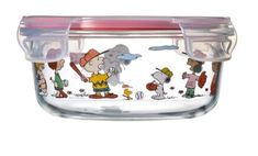 [SNOOPY PEANUTS x PYREX]  Circle pattern closed container 620 ml / 15 X 5.5cm #PYREX