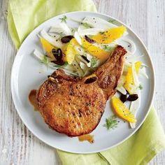 Pork Chops with Fennel, Orange, and Olive Salad.