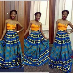 Kente maxi skirt with strapless top by ZNAKCanada on Etsy ~African fashion, Ankara, kitenge, African women dresses, African prints, African men's fashion, Nigerian style, Ghanaian fashion ~DKK