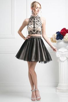 Trick the eyes in this mock two piece dress, Look like a famous designer in less costly design This adorable-designer dress has an open-back sweetheart bodice with a high- neck sleeveless lace-Illusio