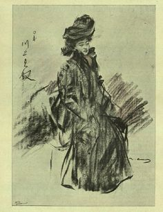 Sada Yacco, Japanese actress.  Drawing by Ramon Casas - Pèl i Ploma, Núm. 088 (1th May 1902)