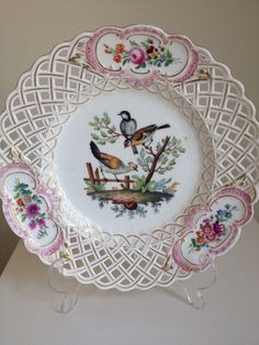 Antique Meissen Bird Pink Rose Floral Decorated RETICULATED CABINET Plate..