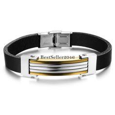 Herren Magnet Armband Punk Edelstahl Armreif Silber Männer Armschmuck 12mm breit