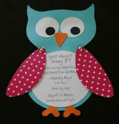 Owl party invitations from Etsy shop ThePreppyLadybug
