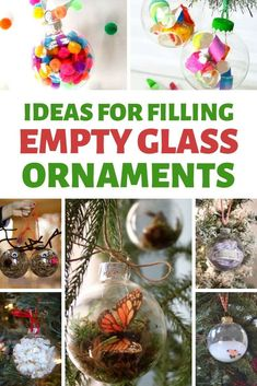 Ideas for Filling Glass Ornaments - Red Ted Art - Make crafting with kids easy & fun Lego Ornaments, Clear Christmas Ornaments, Vinyl Ornaments, Clear Glass Ornaments, Unicorn Ornaments, Felt Christmas Decorations, Christmas Ribbon, Christmas Crafts, Clear Baubles Ideas
