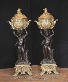 - Pair gorgeous French Empire bronze cherub stands<BR> - Each cherub holds… Pots, French Empire, Bronze, Architectural Antiques, North London, Objet D'art, Urn, Architecture, Art History