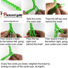 See how to braid 8 strands using this tutorial. Paracord Weaves, Paracord Braids, 550 Paracord, 6 Strand Braids, Diy Braids, Horse Braiding, Cobra Weave, Paracord Dog Leash, Paracord Projects