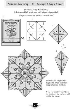 Simple Origami - Picture Gallery - Diagrams - Origami of the kitchen - From the Kitchen - Orange-flower tea description