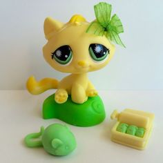 Littlest Pet Shop RARE Yellow Tabby Cat #920 w/Green Eyes & Accessories #Hasbro