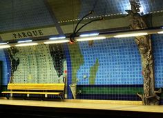 Parque Metro Station in Lisbon Traditional Tile, Portuguese Tiles, Metro Station, Conceptual Art, Public Transport, Art And Architecture, Art World, Great Places, Around The Worlds