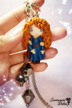 Disney Princess, Brave Merida Necklace, Kawaii Charms, Cute Polymer Clay Jewelry