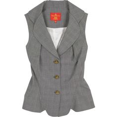 Checked cotton waistcoat (£67) ❤ liked on Polyvore featuring outerwear, vests, tops, jackets, waistcoat, women, vivienne westwood red label, checkered vest, v neck vest and grey vest