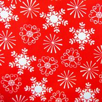 Beautiful snowflakes land on this red woven cotton by Michael Miller.  Perfect for holiday dresses, tops, skirts, home decor, gifts, and more!