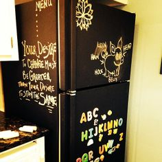 TIP for Renovation on a Budget: Don't replace your fridge. Just give it a coat of Chalkboard Paint – great for shopping lists, messages to family or keeping the kids amused. We suggest using dust-free chalk to minimize mess Chalkboard Paint Refrigerator, White Refrigerator, Refrigerator Decoration, Just Giving, Chalk Paint, Home Projects, Make It Simple, Home Improvement, Diy Crafts
