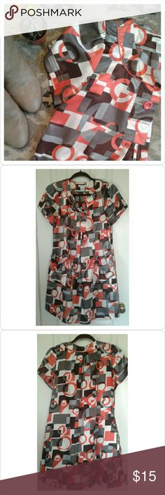 Geometric Print Dress Fun for fall geometric dress by Poppy Garden. Size small but fits very flowy, can be worn by a size medium as well. Anthropologie Dresses Mini