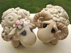 Polymer clay: I Love Ewe Custom Keepsake Wedding Cake Topper -Theaircastle