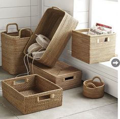 love my baskets-west elm modern weave storage collectionThe sturdy frames of our Modern Weave Storage pieces are covered in tightly handwoven rattan peel, tea-stained to highlight the rich texture.Small Round Basket: x Storage Bin: x Medium Harvest B Rope Basket, Rattan Basket, Basket Weaving, Firewood Basket, Linen Baskets, Laundry Baskets, Modern Baskets, Contemporary Baskets, Home Crafts