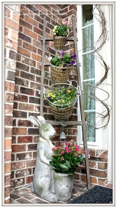 Steals Design Ingenuity Event- Vintage Farmhouse Wire Baskets Spring Porch-Design Ingenuity Event- Decor Steals Wire Basket Set-From My Front Porch To YoursSpring Porch-Design Ingenuity Event- Decor Steals Wire Basket Set-From My Front Porch To Yours Vintage Farmhouse, Farmhouse Decor, Veranda Design, Summer Porch, House With Porch, Wire Baskets, Wire Basket Decor, Home And Deco, Porch Decorating