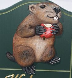 Groundhog Welcome Sign Detail / Danthonia Designs Parks In Sydney, Led Signs, Home Signs, Animal Signs, Lion Sculpture, Wildlife, Rues, Animals, Detail