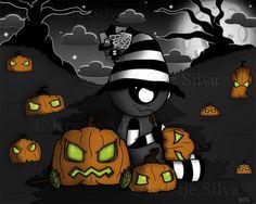 A strangeling that loves to create strange faces into pumpkins. #strangeling #strangelings #monster #creature #voodoodoll #voodoo #Halloween #halloweenart #pumpkins #spider #skulls #lowbrow #lowart #kristiesilva #creepycute #bigeyedart  #bigeyes