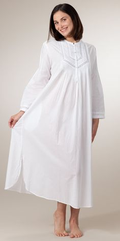 Cotton Pintucking Delight Nightshirt - Plus Size La Cera Long Sleeve Cotton Nightgown in White 1X-4X