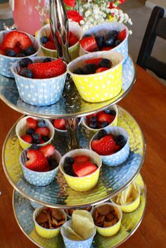 Fresh fruit cups. Good for a 1st birthday.