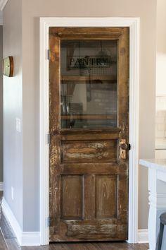 Need a pretty pantry door. Vintage farmhouse door repurposed as a pantry door - by Rafterhouse Home Design, Küchen Design, Design Ideas, Art Designs, Vintage Farmhouse, Farmhouse Door, Farmhouse Style, Farmhouse Kitchens, Farmhouse Furniture