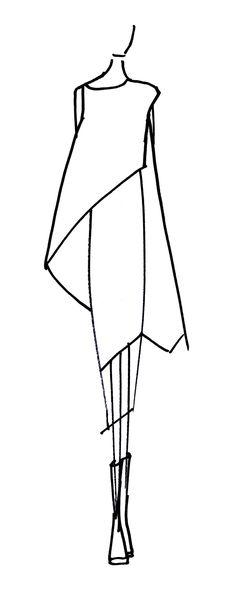 justine w. Fashion Silhouette, Dress Silhouette, Fashion Sketchbook, Fashion Sketches, Fashion Art, Fashion Models, Japanese Fashion Designers, Dress Illustration, Dress Drawing