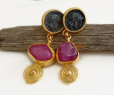 Ancient Roman Art Handmade Coin Earrings W/ Rough Uncut Ruby by Ferimer 18k Gold Over 925 k Sterling Silver