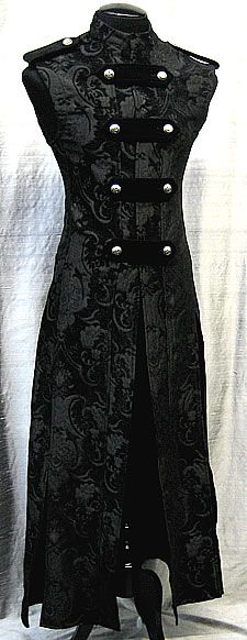 Hellraiser Cassock - Black Tapestry - A Warrior's Cassock, or sleeveless robe - by Shrine Clothing Goth Mens Cassock Jackets