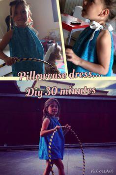 Vestido de verano con una funda de almohada y una cinta para hacer el cuello... Rápido y fácil! Mi primer intento