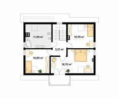 Dudek 2 dr-T jednorodzinny dom parterowy z poddaszem - Jesteśmy AUTOREM - DOMY w Stylu Floor Plans, Floor Plan Drawing, House Floor Plans