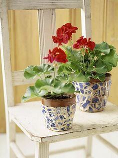 Create one-of-a-kind garden accents by covering flowerpots with a mosaic of broken ceramic pieces.