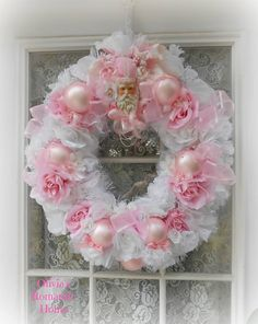 My Stunnning new pink and white Santa wreath made by Olivia's Romantic Home -Etsy !! xoxo