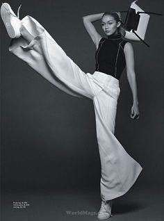 Gigi Hadid by Benny Horne for Vogue Australia June 2015 prada and celine