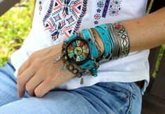 Hippie leather watch Women's wrist watch by CuckooNestArtStudio