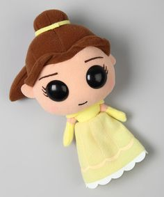 Straight out of the all-time favorite Disney movie, it's Belle wearing her famous gown. Crafted of soft, cuddly plush material, she's the perfect friend for little royalty to snuggle with at night. 7'' HPolyesterRecommended for ages 3 years and upImported